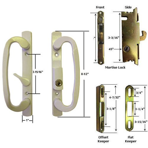 Sliding Glass Patio Door Handle Kit with Mortise Lock and Keepers, B-Position, Beige, Keyed