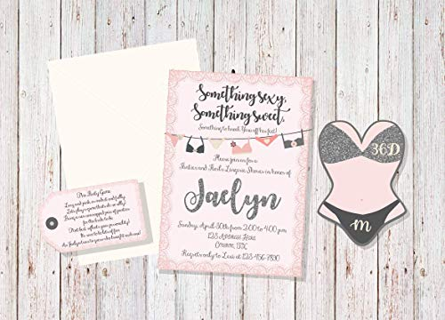- Lingerie Shower Invitation Set 12+, Something Sexy, Something Sweet Invitation, Pink Lingerie Shower, Pink and Gray Bridal Shower, Panty Game Invite