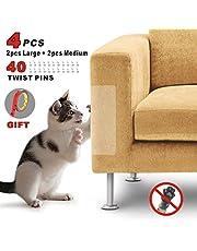 Idepet 4PCS Cat Scratch Protector for Furniture,Flexible Transparent Cat Scratch Couch Protector with 40 Screws,Pet Couch Protector Stop Cats Scratching Furniture Avoid Scratch Sofa Pad (2M+2L)