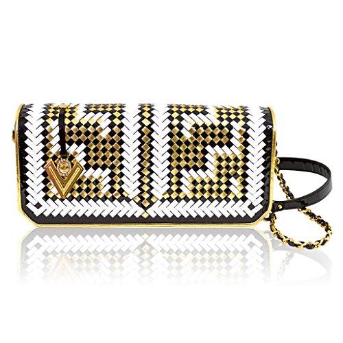 Valentino Orlandi Italian Designer Metallic Woven Intrecciato Leather Shoulder Bag Mini Purse (Woven Handbag Leather Italian Mini)