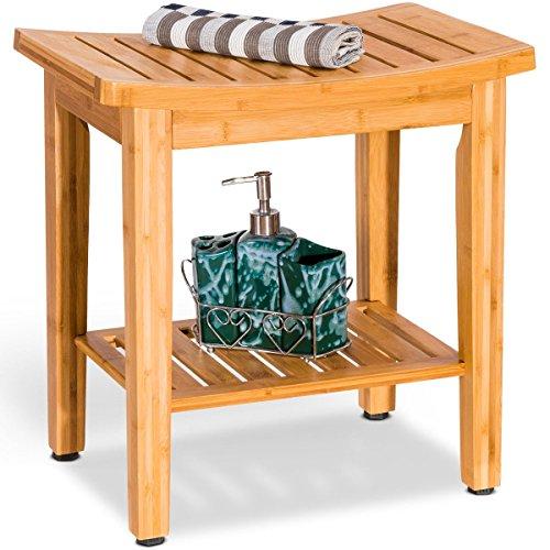 "18"" Bamboo Chair Shower Seat Bench Bathroom Spa Bath Toilet for Elder"