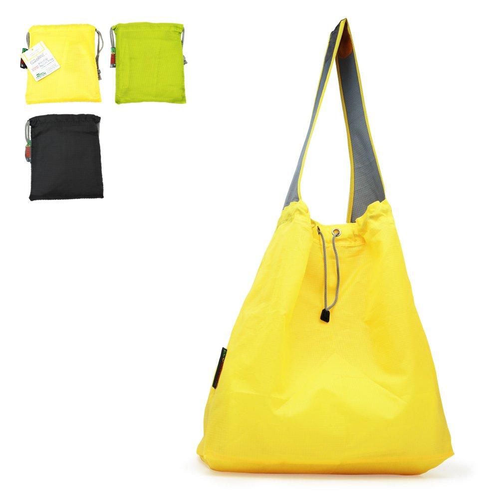 特許出願中: Ecojeannie 3パックLarge超強力なリップストップナイロン折りたたみ式再利用可能なショッピングバッグ、旅行バッグ、ビーチバッグ、Grocery Tote w /ポーチ&インナーポケット、draw-string、強化ハンドル 15.5 H X 15 W X 5 Inch D / 28 Inch Handle イエロー B06XGQM23G Yellow-Green-Black|3 Yellow-Green-Black