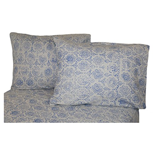 Cheap La Rochelle Heathered Abstract Flannel Sheet Set, King, Blue for cheap