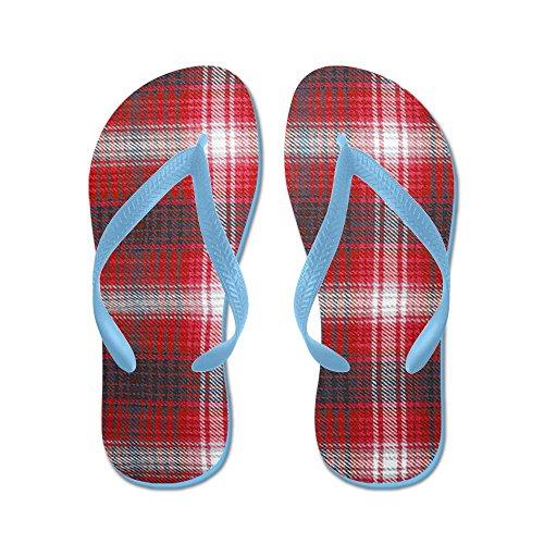 CafePress Plaid Pattern - Flip Flops, Funny Thong Sandals, Beach Sandals Caribbean Blue