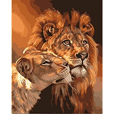 MailingArt Wooden Framed Paint by Number Animals No Blending / No Mixing Linen Canvas DIY Painting - Big and Small Lion King: Toys & Games
