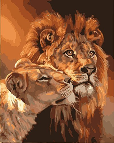 MailingArt Wooden Framed Paint by Number Animals No Blending / No Mixing Linen Canvas DIY Painting - Big and Small Lion King Meiling Art CX017
