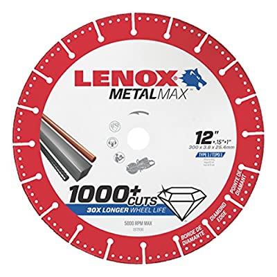 "Lenox Tools 1972930 METALMAX Diamond Edge Cutoff Wheel, 12"" x 1"""