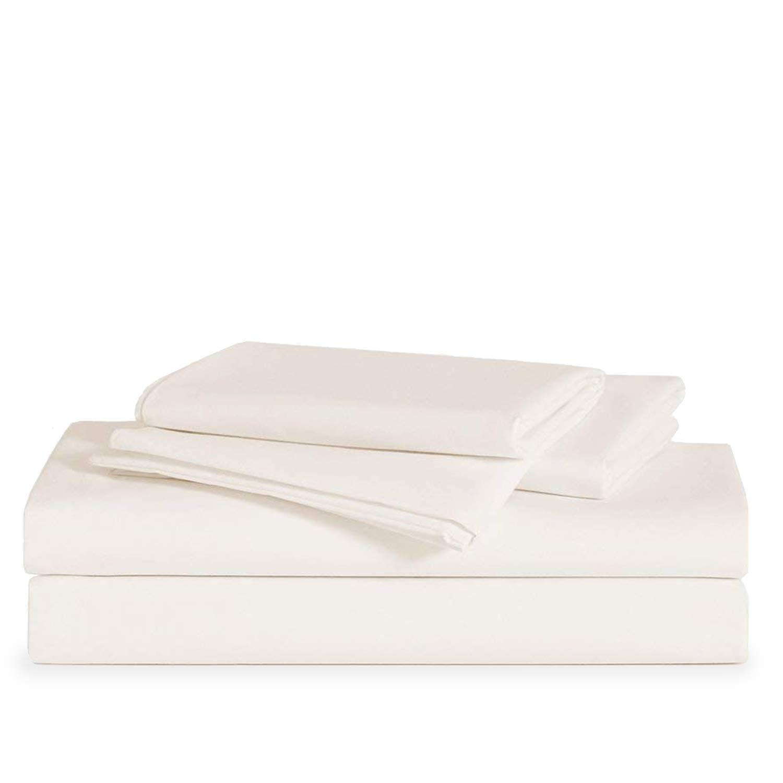 Brooklinen Luxe Core Sheet Set – Includes 1 Flat Sheet, 1 Fitted Sheet + 2 Pillowcases – 480 Thread Count Sateen Sheet Set – 100 Percent Long-Staple Cotton – Oeko-TEX Certified – Cream – Queen