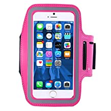 Cell Phone Armband,iBarbe up 5.5 Inch Case for iPhone 7, 6, 6S, SE, 5, 5C, 5S, and Galaxy S5, Google Pixel - Adjustable Velcro Workout Band, Key Holder & Built-in Screen Protector (Rose)