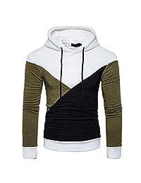 Cool Long Sleeve Tee,Men Autumn Long Sleeve Patchwork Hoodie Hooded Sweatshirt Top Tee Outwear Blouse for Men Teen Boys