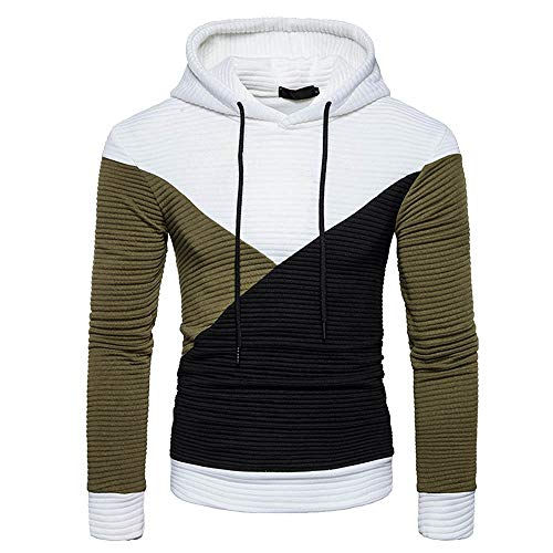 Patchwork Pullover Sweatshirts BOOMJIU Mens Casual Long Sleeve Color Block Shirts Striped Hoodie Tops White -