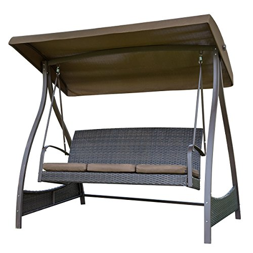 Glider Canopy (SunLife Porch Lawn Glider Swing 3-Seat Hammock Chair with Arc Stand,Steel Frame Garden Canopy Lounger)