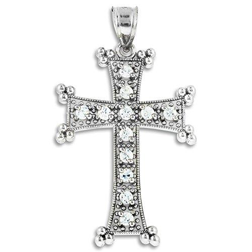 Petits Merveilles D'amour - 14 ct Or Blanc 585/1000 arménienne Croix de Oxyde de Zirconium Pendentif