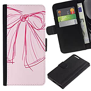 Planetar® Modelo colorido cuero carpeta tirón caso cubierta piel Holster Funda protección Para Apple (5.5 inches!!!) iPhone 6+ Plus ( Sketch Art Pink Red Fashion Design )