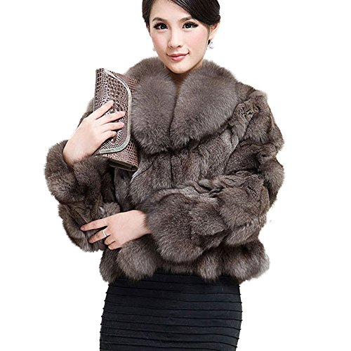 Fur Story Women's Real Fox Fur Coat with Fox Fur Collar Thick Warm Coat Full Sleeve US 10 (Khaki)