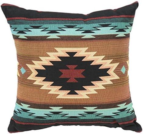 Black Forest D cor Decorative Rustic Farmhouse Western Pattern Pillow Turquoise Peaks