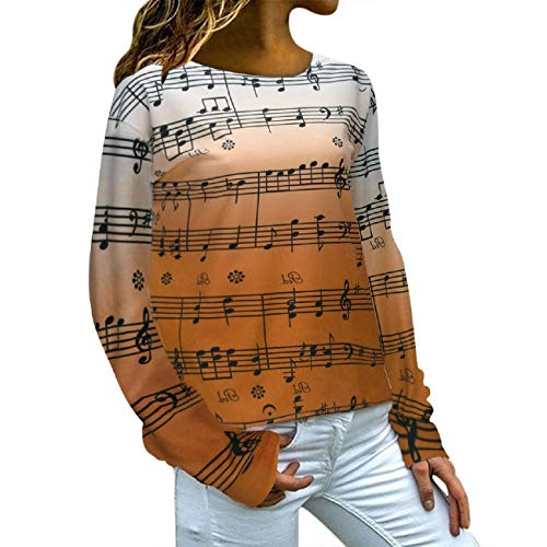 JKLING Women Plus Size Sweatshirt Chic Long Sleeve Round Neck Music Note Print Daily Concert Loose Pullover Tops