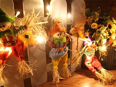 Battery Operated LED String Lights with Driftwood & Scarecrow, Christmas Lights, Party Lights