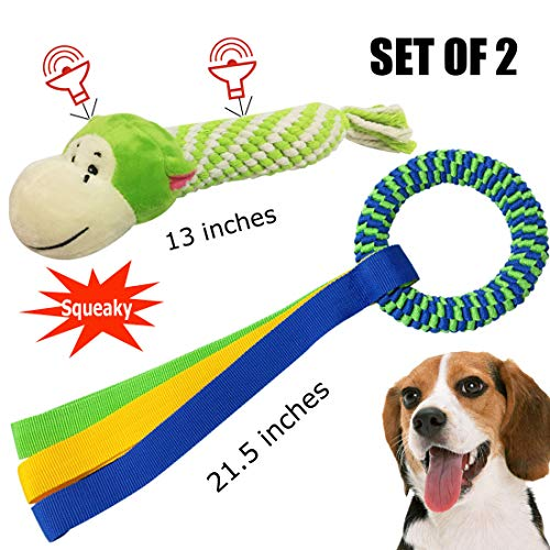 LearnTop Dog Toys, Dog Chew Toys, Puppy Teething Toys, Squeak Toys, Dog Toy Cotton Rope for Dogs,Toys for Small Medium Dog, Chew Toys, Dog Toy Gift Set (Pack of 2)