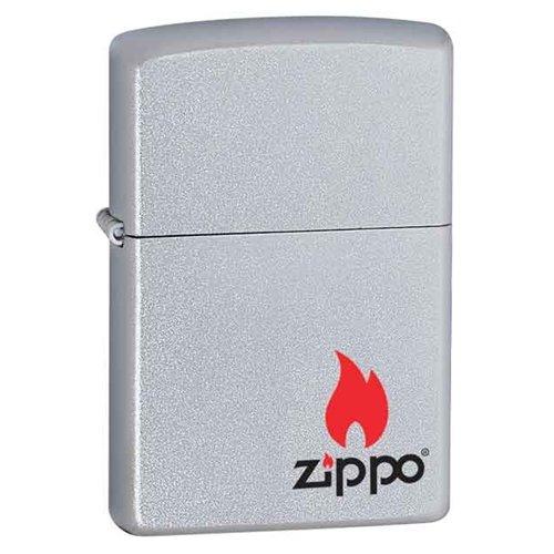 Zippo Lighter - Zippo Logo w/ Flame Satin ()