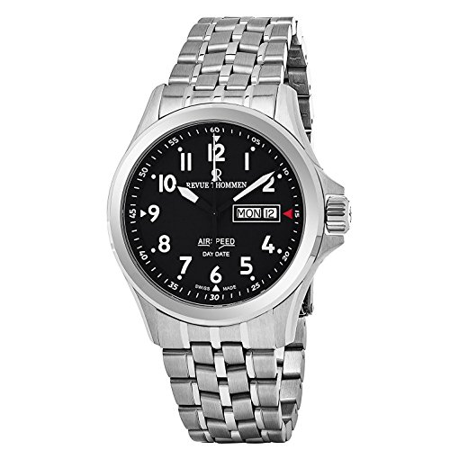 Revue Thommen Air Speed Pilot 42 MM Mens Black Dial Stainless Steel Automatic Day Date Swiss Watch 16020.2137