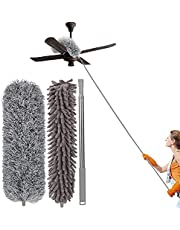 Microfiber Duster,Oflywe 3Pcs Duster Cleaning Kit with 100 Inch Stainless Steel Extension Pole Lightweight Dusters for Cleaning Ceiling Fan, High Ceiling, Blinds, Furniture, Cars (Grey)