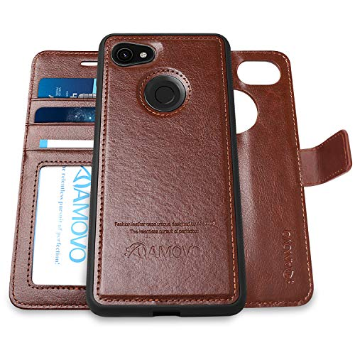 Pixel 3a Wallet Case [2 in 1] AMOVO Detachable Folio Case for Google Pixel 3a [Vegan Leather] [Card Slot] [Magnetic Clasp] Flip Case for Google Pixel 3a with Gift Box Package (3A, Brown)