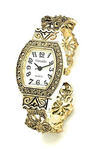 (Ladies Modern Antique Elegant Metal Bangle Cuff Fashion Watch Versales (Gold) )