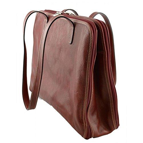 Borsa A Spalla In Vera Pelle 3 Scomparti – Victoria Colore Rosso - Pelletteria Toscana Made In Italy - Borsa Donna