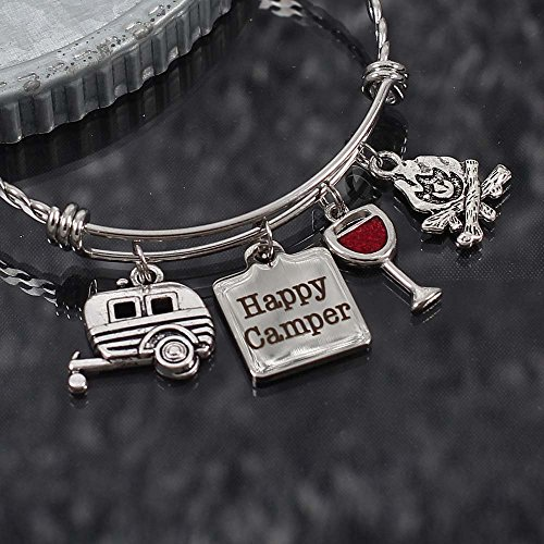 (Custom Camping Bracelet with Choice of Charms Happy Camper Bangle with Wine RV Campfire)