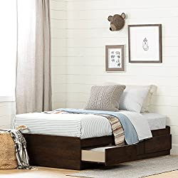 "South Shore 11961 Mates Bed with 3 Drawers Aviron Twin (39""), 0, Brown Oak"