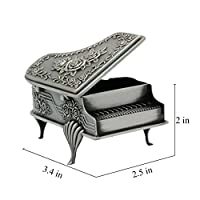 Naimo New Vintage Piano Design Jewelry Box Decorated with Rose Sculpture Creative Gift Present