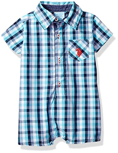 U.S. Polo Assn.. Baby Boys' Woven Romper, Light Blue Plaid, 6/9 (Baby Boy Light Blue Romper)