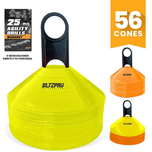 Bltzpro Disc Cones (Set of 56) - Agility Football Cones with UniqueCarrying Mesh Bag and Holder Ideal for Youth Training, Soccer Speed Practice, Kids Sports, Saucer Field Markers for Team Sports ()