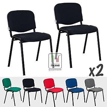 2 sillas de sala de espera con estructura de metal negro y asiento ...