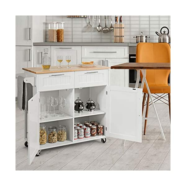 Giantex Kitchen Island Cart Rolling Storage Trolley Cart Home and Restaurant Serving Utility Cart with Drawers,Cabinet…