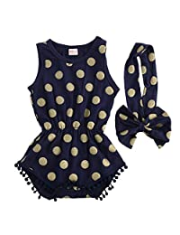 Baby Girl Clothes Dots Romper Bodysuit Jumpsuit Outfits One-pieces Headband Set