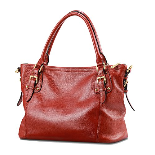 Kattee Women's Vintage Soft Leather Tote Shoulder Bag(Orange red, Large) Cow Leather Women Zipper