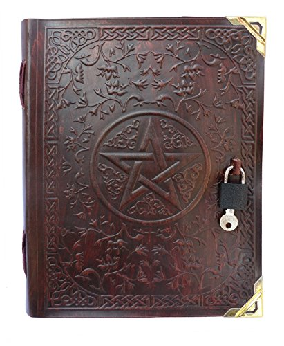 QualityArt Pentacle Lock Leather Journal Leather Artist Notebook Diary Sketchbook 9x7 Inches Dark Brown