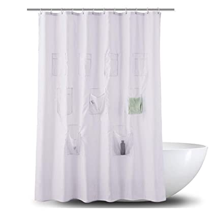 Enipate Quick Dry Solid Color Shower Curtain Fabric Liner Mesh Pockets Bath Organizer With