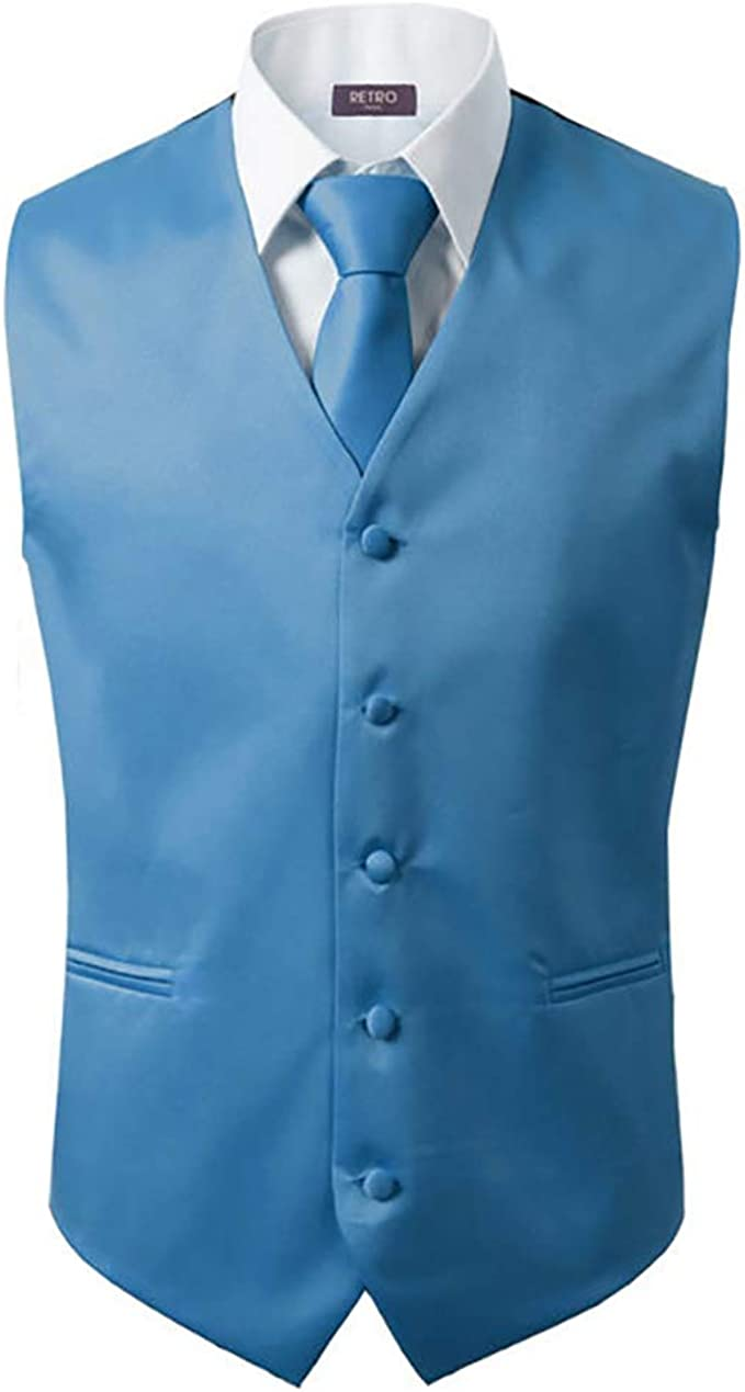 Amazon.com: 3 piezas chaleco + corbata + pañuelo para hombre ...