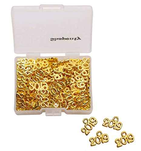Shapenty Mini Metal Year Signet 2019 DIY Pendant Charms Accessory Bulk for Bracelet Necklace Earrings Keychain Tassels Cellphone Crafting Jewelry Making Christmas Graduation Party Decor, Gold, 100PCS]()