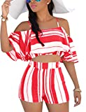 Vilover Women's Boho Floral Print Spaghetti Strap Crop Cami Top with Shorts, Red/White, XL
