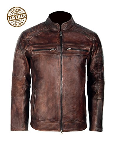 Cafe Racer Leather Jacket for Men Biker Vintage Leather Wax Jackets Slimfit Motorcycle Leather Jacket (M)