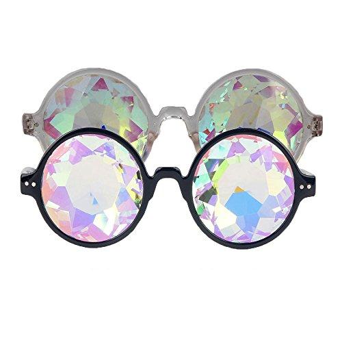 Kaleidoscopic Prism Eyeglasses - Kaleidoscope Halloween Goggles, Crystal Lenses Cosplay Steampunk Goggles & Glasses for Hallowmas Costume, Cosplay Party Props 2PCS - Eye Related Halloween Costumes