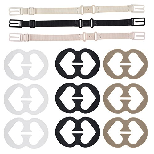 Price comparison product image Bra Strap Clips, Thsinde 12 Bra Clips and Bra Straps Holder Women's Beige For Full Cup Size (12 Pcs Bra Strap Clips)