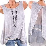 Fendxxxl Women's Summer Vest Chiffon Open Back Flowy Tank Tops Casual Blouses Sleeveless Shirts F27 Gray S