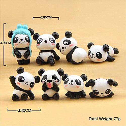 Cute Panda Figures Toys, Kimkoala 8Pcs Naughty Plastic Miniature Panda Figurines For Handcraft Fairy Garden Ornaments Micro Landscape Decorations Birthday Cake Toppers Kids (Cake Decorations Accessories)