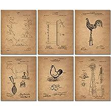 Farm Patent Prints - Set of SIX Photos - Country Western Wall Art Decor