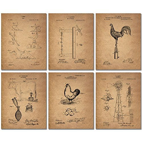 Farm Patent Prints - Set of SIX (8x10) Photos - Country Style Rustic Chic Western Wall Art Decor